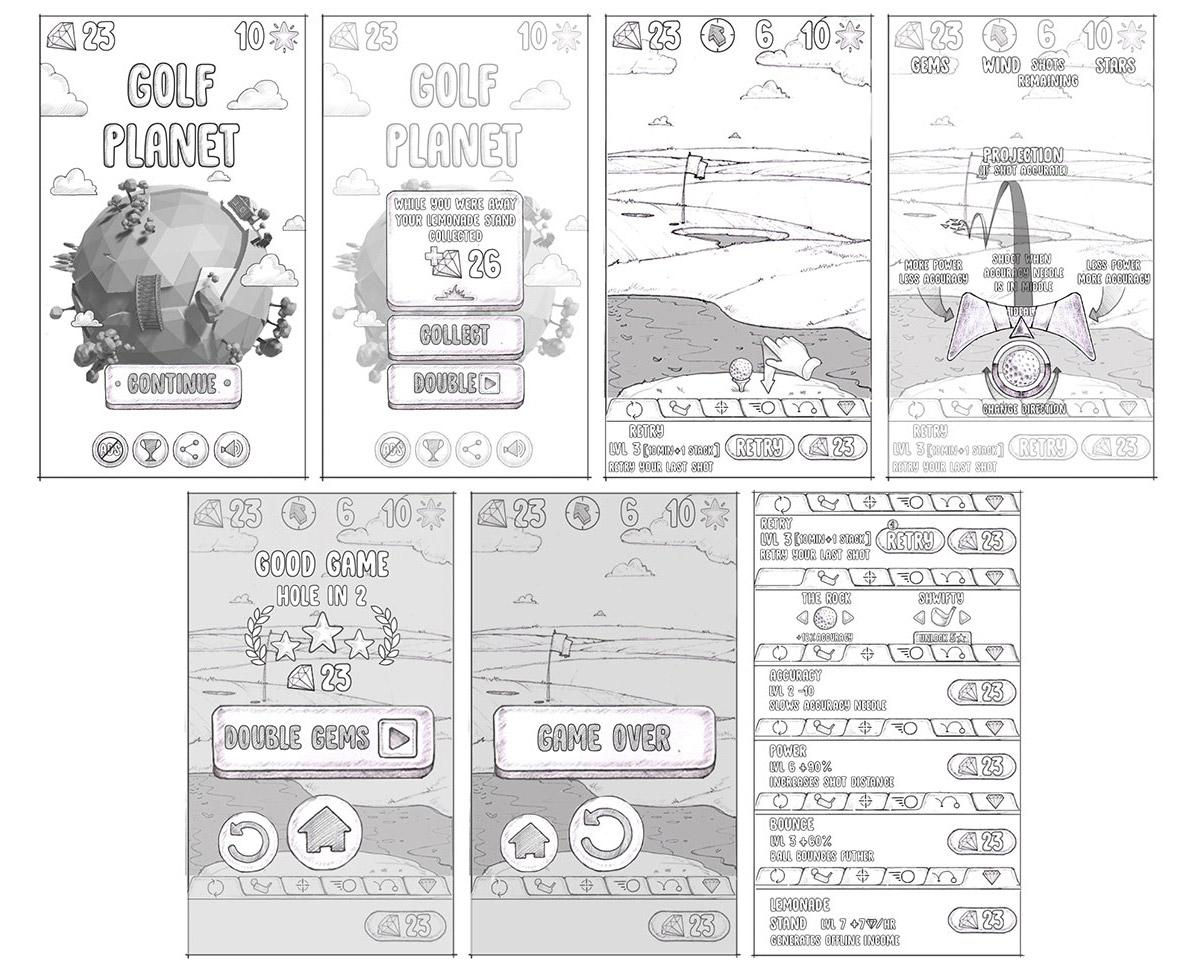 Golf_Planet_UI_sketches